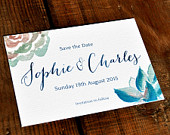 Botanical Beauty Save the Date on luxury textured card or as a flexible fridge magnet. Succulents or Coloured Flowers.