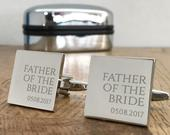 Personalised engraved FATHER of the BRIDE wedding cufflinks gift, choice of cufflinks box RR1