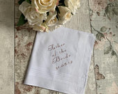 Personalised Handkerchief, Father of the Bride, Bride Gift, Wedding Accessory, Wedding Favour, Mother of the Bride, Handkerchief, Wedding