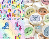 Edible My Little Pony Transfer Sheets Sugar Art Stamps Floral G1 MLP Unicorn Birthday Pegasus Wedding Meringue Kisses Chocolate Lollipops