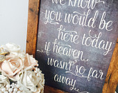 We know you would be here today if Heaven wasnt so far away Rustic unframed A4 chalkboard effect memorial sign