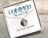 Sterling Silver Custom Wedding Moon Phase Necklace, Personalised Bride Jewellery Gift, Wedding gift, Bride gift from Groom, Anniversary gift