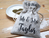 Personalised Wedding Favour Bags Mini Heart Print Favor Bag With Bulk Discount 10 50 100 Hessian Bag Alternative to Favour Boxes