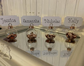 Bauble Wedding favour keepsake gift table name place holder settings with heart confetti and name cards included
