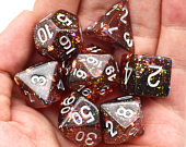 Burning Confetti DnD Dice set, Polyhedral Dice, DD dice. Table top role playing, Dungeons and Dragons. Red and black glitter with Foil