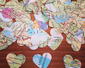 World Map Confetti, Atlas Confetti, Heart Confetti, Table Confetti, Table Scatters, Wedding Confetti, Travel Confetti, Travel Wedding (200)