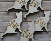 CAT SHAPE Wooden PERSONALISED Table Confetti, Scatter Favours