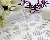 Paper heart wedding confetti 200 vintage story book die cut punched hearts 3.5cm by 3cm Great romantic anniversary table decoration
