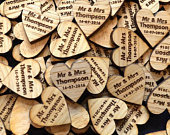 Personalized Heart Shaped Wooden Wedding Table Confetti