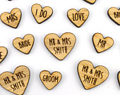 Personalised MIXED Heart Shaped Wooden Rustic Wedding Table Confetti