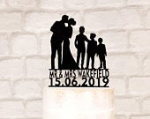 Family Silhouette Wedding Cake Topper with 3 Boys