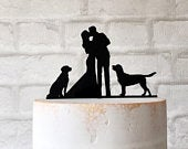 2 Labradors Silhouette Wedding Cake Topper with 2 Dogs Bride and Groom