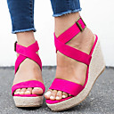 Women's Sandals Wedge Heel Open Toe Buckle Suede Business / Vintage Spring Fall / Spring Summer Leopard / Fuchsia / Blue / Party Evening