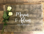 Wooden Wedding Guest Book Sign (Optional Date) Personalised Classic, Guest Book, Wooden Guest Sign, Wedding Decor, Rustic Wedding Sign
