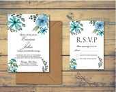Personalised Printed Blue Floral Wedding Invitations and RSVP Cards