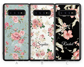 Personalised Samsung Galaxy S10 Case S10e Case S10 Plus Case S10 5G Custom Floral Flower Initials Name Samsung Case Rubber Phone Case Blue
