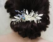 Blue Wedding Hair comb, Leaf Bridal Hair Comb, Floral Hair Comb, Something Blue Bridal Headpiece, Wedding Hair Accessory, Crystal Headpiece