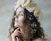 Cream and lilac flower crown, floral garland, wedding headpiece, nature inspired, vintage inspired, rustic rose, love.