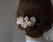 Floral hair comb Bridal hair comb Wedding hair comb Bridal flower hairpiece Pastel rose Eucalyptus Bridal headpiece Blush flower headpiece