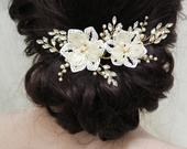 Gold Wedding Hair comb , Bridal Hair Vine, Floral Hair Vine, Bridal Headpiece, Wedding Hair Accessory, Floral Headpiece, UK