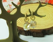 Mother of Pearl Dangle Earrings with Gold Zirconia Lever back clasps, Removable drop pendant