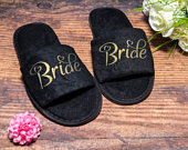 Bride Slippers Personalised Wedding Slippers, Bridesmaid Gift, Bridal Party , Bride Slippers Hen Weekend Open Toes Black Spa Slippers
