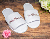 Mother of the Bride Slippers Personalised Wedding Slippers Bride slippers , Bridesmaid Gift, Bridal Party , Hen, Open Toes Spa Slippers