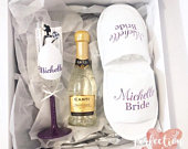 Personalised bridal gift box with glass, fan, prosecco, slippers, dressing gown. Bridesmaid gift box, bride to be box.