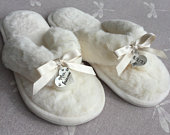 Personalised Bridal Slippers, customised slippers, white slippers for bride, gift for bride, wedding slippers, hen party slippers