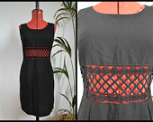 SALE! Amazing Vintage Linen Betty Barclay Black caged Cut Out waist Mod Shift Dress Size Small