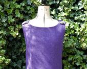 Purple and Green Wool Tweed Pinafore dress with a vintage twist