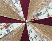Fabric Hessian Lace Bunting Burgundy Handmade Wedding Shabby Chic from 10ft 40ft