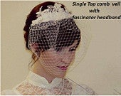 Birdcage veil Blusher Veil, Birdcage veil with Lace Fascinator Aliceband Hair Accessory,wedding veil, Bridal hair piece wedding hairpiece