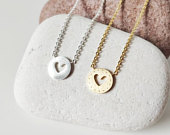 Love Heart necklace, Dainty heart jewelry, Wedding gift, Anniversary gift, Fiance gift, Friendship gift, Bridesmaids gifts, Heart charm