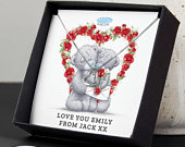 Personalised Me to You Valentine Sentiment Heart Necklace and Box Valentines necklace for her heart necklace for her anniversary gift