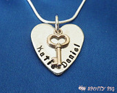 Personalised Gift Girlfriend Wife 2 Names Heart Necklace with Key, Hand Stamped Gift, Wedding Gift