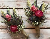 Dried Flower Buttonholes. Dried thistle design by Florence and Flowers. Matching Wedding Bouquet available for rustic gaelic style
