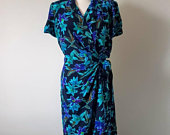 Vintage 1980s short sleeved, blue and purple floral wrap dress, with collar