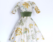 Mustard Floral Print Olive Velvet Autumnal Audrey Dress with Flared Skirt Sleeves Made by Dig For Victory