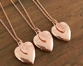 The Rose Gold Heart Locket Necklace with optional Initial Leaf Pendant Gift for her Personalised Necklace