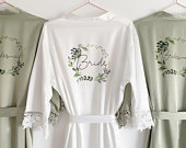 Personalised Bridesmaid robes, Wedding Dressing Gown, foliage floral Bridal robe, Robes, Satin Wedding Robe, grey bridal Robe, bridal robe