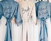 TILLIE satin and lace bridal robes in standard and plus sizes and child sizes, wedding robe with lace for bridesmaids