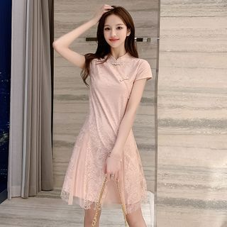 Short-Sleeve Frog Buttoned A-Line Lace Dress