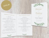 Greenery Wedding Program Booklet Gold Calligraphy, Printable Wedding Order of Service Booklet Template, Catholic Wedding INSTANT DOWNLOAD