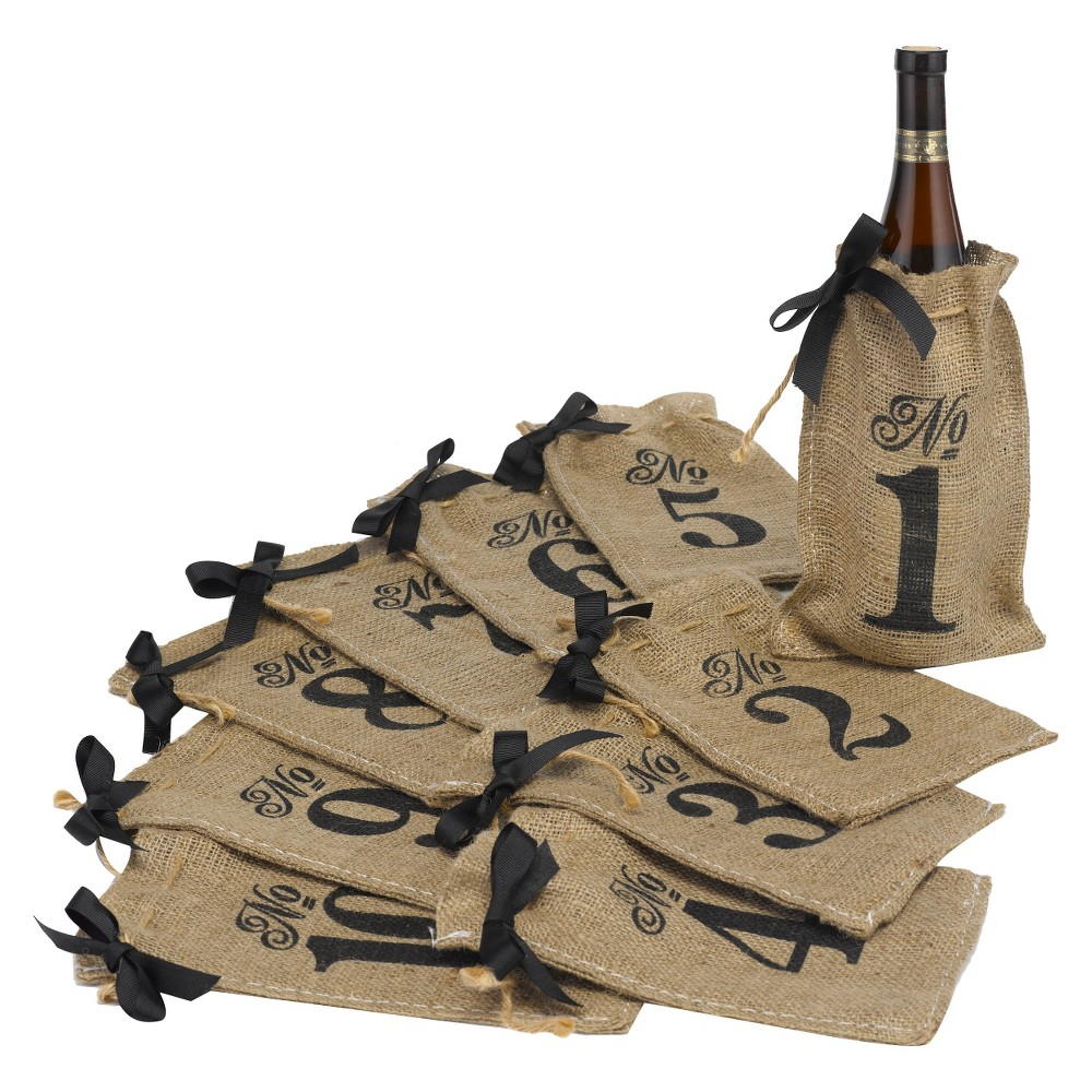 Burlap Bag Wedding Table Numbers (1-10)