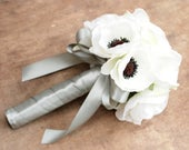 White Silk Anemone Bridal Bouquet and Grooms Boutonniere Set, Real Feel Silk Flowers, Everlasting Wedding Keepsake,