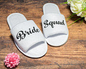 Bride Squad Slippers Personalised Wedding Slippers Bridesmaid slippers , Bridesmaid Gift, Bridal Party , Hen Weekend Open Toes Spa Slippers