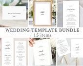Classic Wedding Templates Bundle, Printable Minimalist Wedding Invitation and Day Of Stationery Set, Instant Download 025