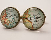 Map cufflinks custom vintage maps. Select two locations. Anywhere in the world. Wedding cufflinks Groom. best man. groomsmen. personalized