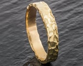 Welsh Recycled Gold Hammered 4mm Wedding Ring